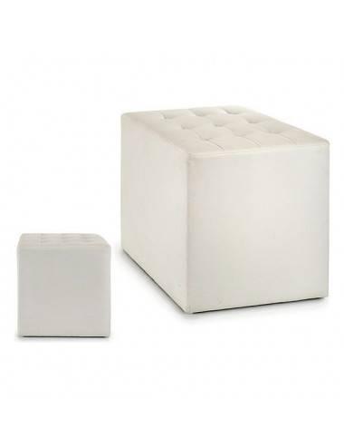 Pouffe White Leather (45 x...